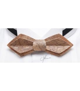 Noeud papillon bois - Modèle Plume en Bubinga argenté - MELISSAMBRE