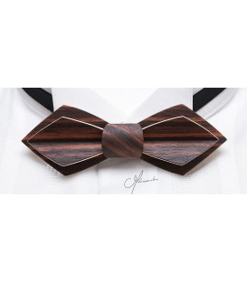 Bow tie in wood, Nib in Macassar Ebony - MELISSAMBRE