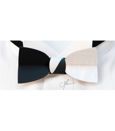 Bow tie in wood, Mellissimo in black & white tinted Movingui - MELISSAMBRE