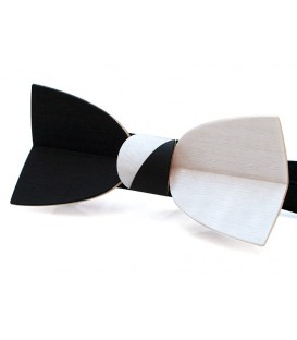 Bow tie in wood, Mellissimo in black & white Movingui