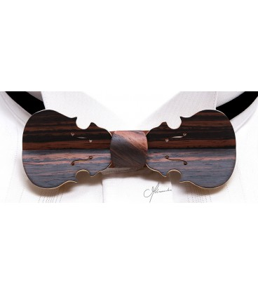 Bow tie in wood, Violin in Macassar Ebony - MELISSAMBRE