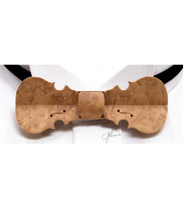 Bow tie in wood, Violin in golden Amboyna burl - MELISSAMBRE