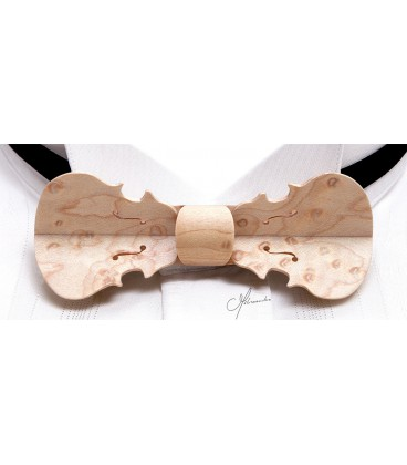 Bow tie in wood, Violin in pearly Maple - MELISSAMBRE