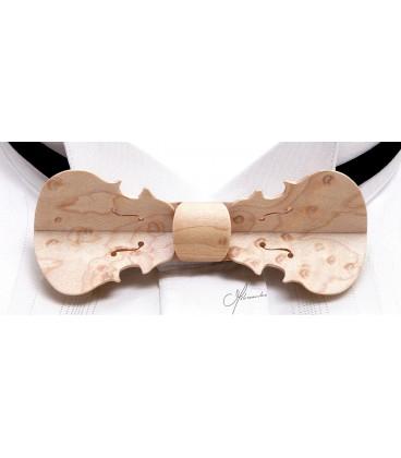 Nœud papillon bois, modèle Violon en Erable perlé - MELISSAMBRE