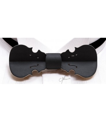Bow tie in wood, Violin in black tinted Maple - MELISSAMBRE