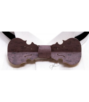Bow tie in wood, Violin in purple tinted pearly Maple - MELISSAMBRE