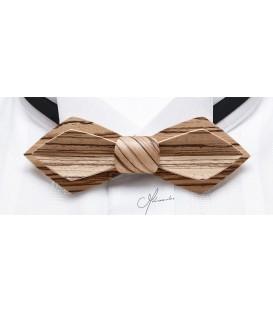 Noeud papillon en bois - Modèle Plume en Zébrano - MELISSAMBRE