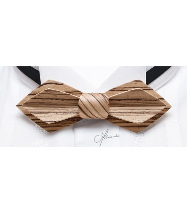 Bow Tie in Wood - Nib Model in Zebrano - MELISSAMBRE