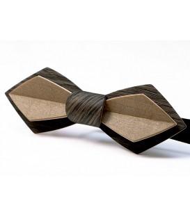 Noeud papillon en bois, Plume en Chêne et Erable bronze