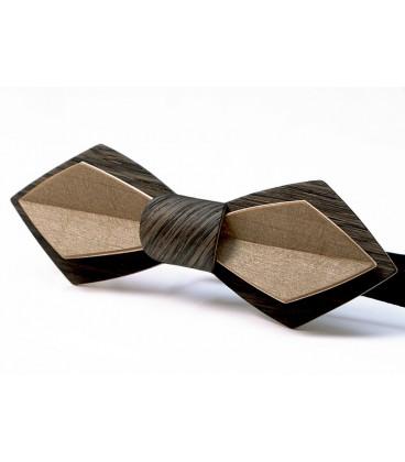 Noeud papillon en bois, Modèle Plume en Chêne des marais & Erable teinté bronze - MELISSAMBRE