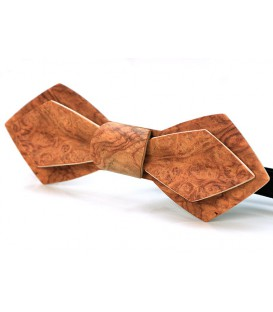 Bow tie in wood, Nib model in red Amboyna burl