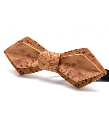 Nœud papillon en bois, Plume en loupe d'If - MELISSAMBRE