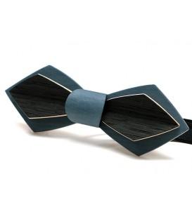 Noeud papillon en bois, Plume en Erable teinté blue jean's