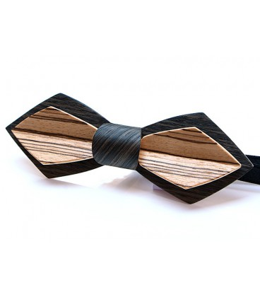 Bow Tie in Wood - Nib Model in Pin Oak and Zebrano - MELISSAMBRE
