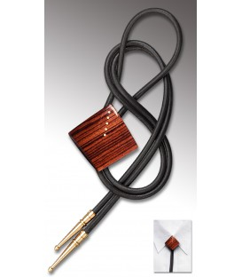 Bolo tie in wood, India Rosewood