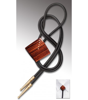 Noeud Texan en bois de Palissandre des Indes, cuir noir - MELISSAMBRE