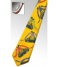 Wooden tie, yellow trainers