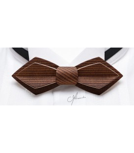 Bow tie in wood, Nib in smoked Larch - MELISSAMBRE