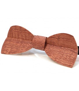 Bow tie in wood, Half-moon in watered Bubinga - MELISSAMBRE