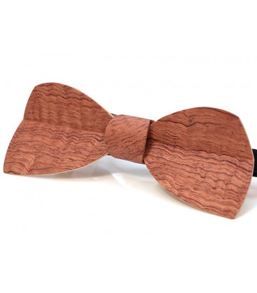 Bow tie in wood, Half-moon in watered Bubinga - MELISSAMBRE