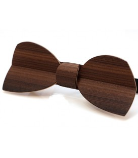 Bow tie in wood, Half-moon in smoked Larch - MELISSAMBRE