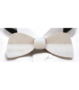 Wooden bow tie, Half-moon in white tinted Movingui - MELISSAMBRE