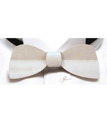 Noeud papillon en bois, Demi-lune en Movingui teinté blanc - MELISSAMBRE