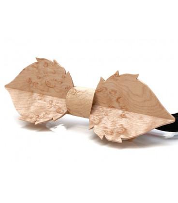 Nœud papillon bois, Feuille en Erable perlé - MELISSAMBRE