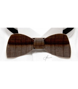 Bow tie in wood, Half-Moon in smocked sawn Eucalyptus - MELISSAMBRE