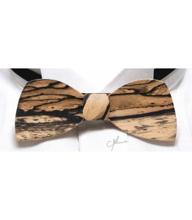 Noeud papillon en bois, Demi-lune en Ebène blanc - MELISSAMBRE