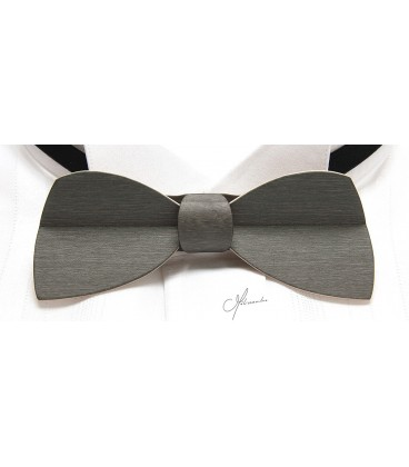 Bow tie in wood, Half-moon in grey-steel tinted Maple - MELISSAMBRE