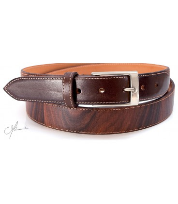 Belt in Wood & leather - Rosewood - Silver finish