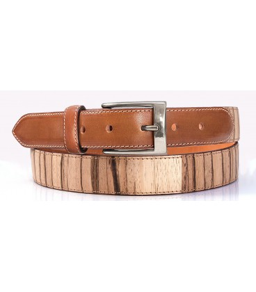 Belt in Wood & Leather, Zebrano - Silver finish