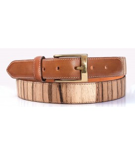 Belt in Wood & Leather, Zebrano - MELISSAMBRE