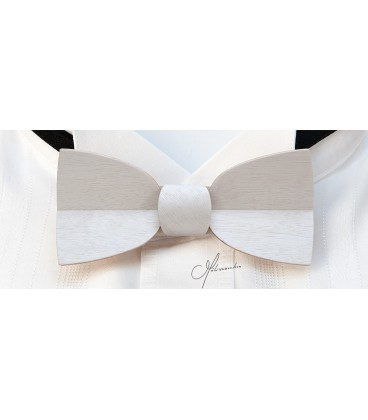 Bow tie in wood, Mellissimo in white tinted Movingui - MELISSAMBRE