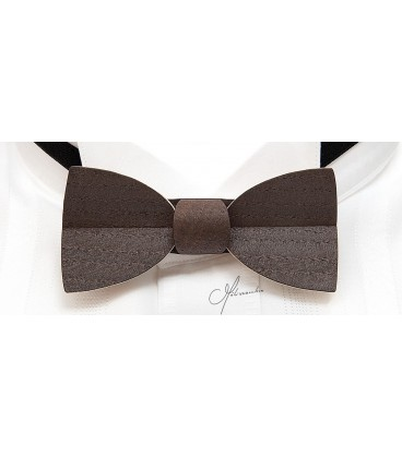 Bow tie in wood, Mellissimo in smoked Chestnut - MELISSAMBRE