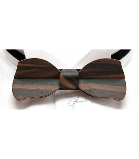 Bow tie in wood, Butterfly in Macassar Ebony