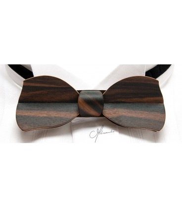 Bow tie in wood, Butterfly in Macassar Ebony - MELISSAMBRE