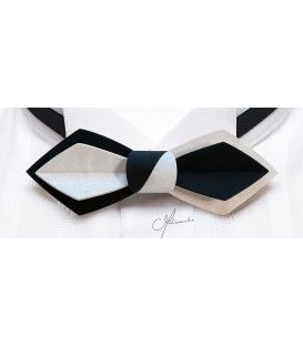 Bow tie in wood, Nib in black & white tinted Movingui - MELISSAMBRE