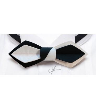 Nœud papillon en bois, Plume en Movingui teinté noir & blanc - MELISSAMBRE