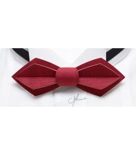 Noeud papillon en bois, Plume en Erable teinté rouge - MELISSAMBRE
