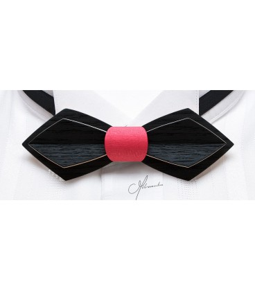 Nœud papillon en bois, Plume en Erable teinté noir & rose - MELISSAMBRE