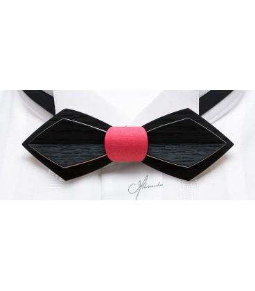 Nœud papillon en bois, Plume en Erable teinté noir & fuschia - MELISSAMBRE