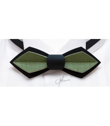 Wooden bow tie, Nib in black & green tinted Maple - MELISSAMBRE