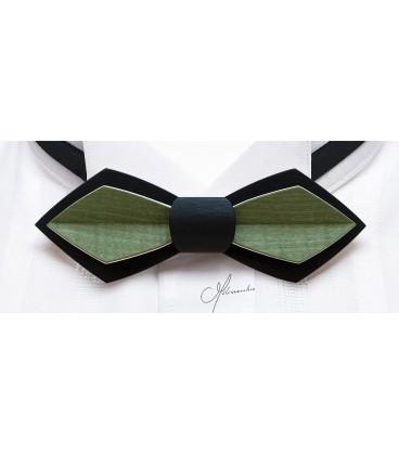 Noeud papillon en bois, Plume en Erable teinté noir & vert- MELISSAMBRE