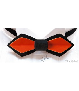 Nœud papillon en bois, Plume en Chêne noir & Erable teinté orange - MELISSAMBRE