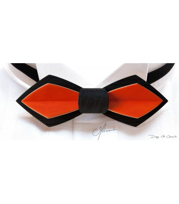 Wooden bow tie, Nib in black Oak & orange tinted Maple - MELISSAMBRE