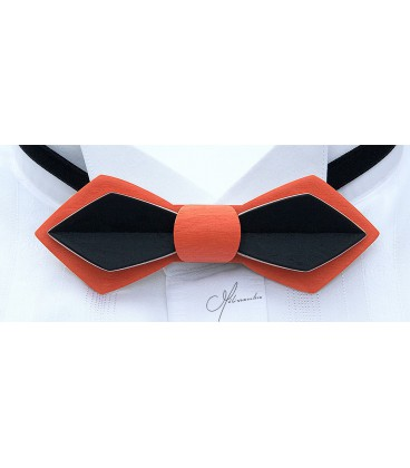 Bow tie in wood, Nib in orange & black tinted Maple - MELISSAMBRE
