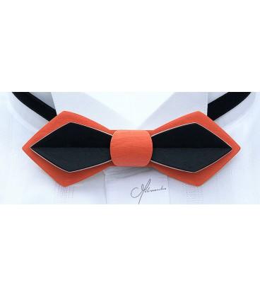 Noeud papillon bois, Plume en Erable teinté orange & noir - MELISSAMBRE