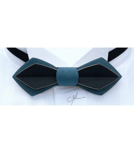 Noeud papillon en bois, Plume en Erable teinté blue jean's & noir - MELISSAMBRE